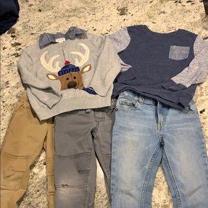 Boys 5 piece lot of 3 pants, 2 sweaters. 4t